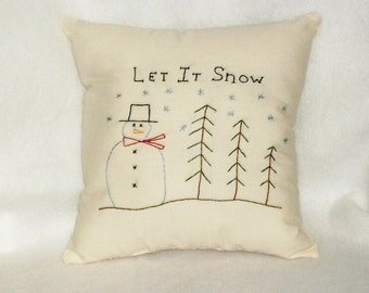 Snowman Pillow, Stitchery, Original Design, Hand Embroidered, Cottage Chic, Winter Pillow, Cushion, Christmas Decor, Holiday Seasonal Decor