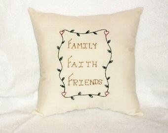 Pillow, Stitchery Pillow, Primitive Decor, Cottage Chic, Original Design, Family Faith Friends, Hearts, Vines