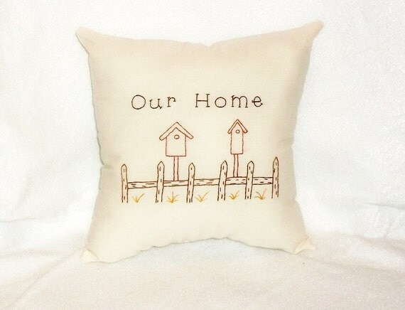 Stitchery Pillow Primitive Original Design Birdhouses Hand Embroidered