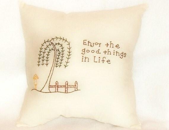 Pillow Stitchery Primitive Folk Art Original Design Hand Embroidered