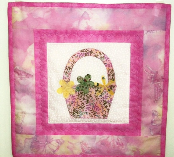 Wall Hanging, Cottage Chic, Quilt, Springtime Flower Quilt, Flower Basket, Pink Wall Hanging, Cottage Chic, Wall Art, Butterflies