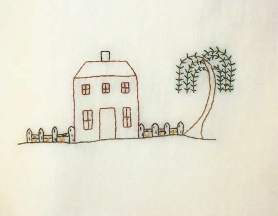 Flour Sack Towel Kitchen Tea Stained Dish Towel Primitive Folk Art Design Original Design