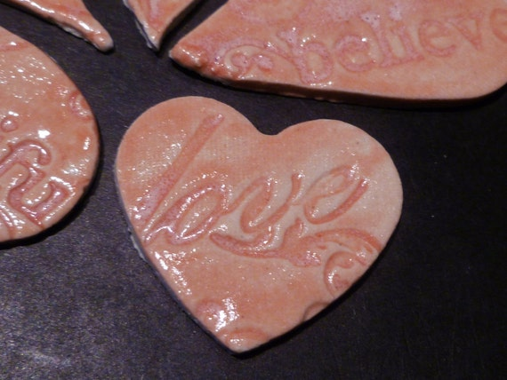 Hearts Pink Love Beautiful Be Happy Believe tiles mosaic or jewelry