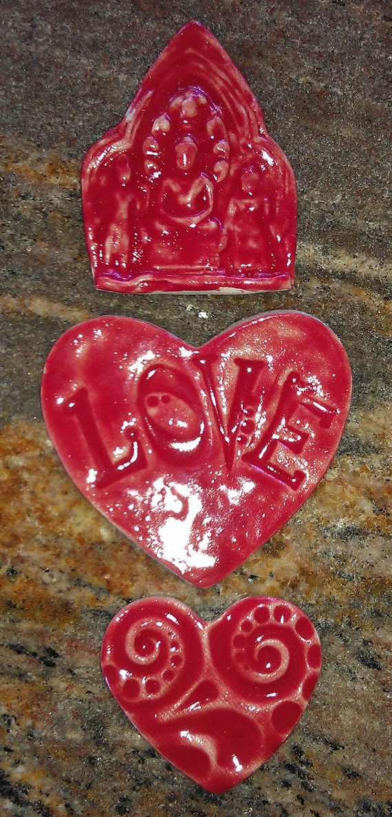 Temple Buddhist Hindu Red Love Heart tiles mosaic or jewelry