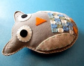 Gregory the Gray & Green Plush Felt Owl