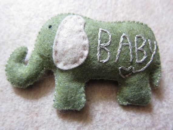 Plush baby gift - green felt elephant with embroidered letters and heart