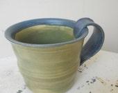 Ceramic Coffee Mug/ Tea Cup, Sage Green and Denim Blue