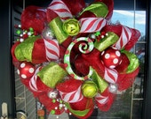 Red Glitzy Christmas Wreath (with hand painted letter of choice)