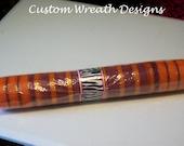 Orange with Purple Stripe Deco Mesh Ribbon
