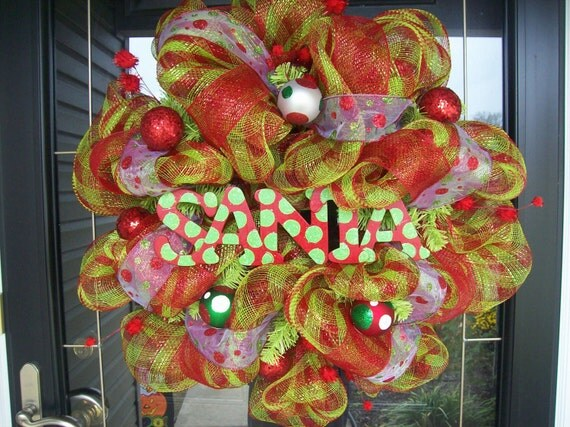 Hoilday Santa Polka Dot Mesh Wreath