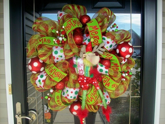 Reindeer Polka Dot Mesh Wreath