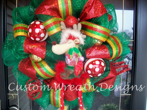 Green and Red Reindeer Christmas Wreath