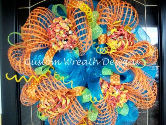 SALE  Turquoise and Orange Summer Wreath   SALE