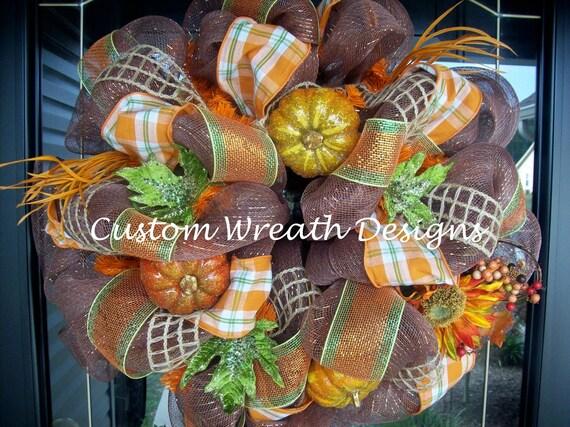 Fall Pumpkin Plaid Mesh Wreath