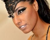 50's Femme Fatale Burlesque Bohemian Black lace crystal headband