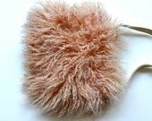 Vintage Real Fluffy Fur Beige Bohemian Leather Purse