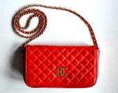 CHANEL 2.55 Bright Red Purse shoulder chain with CC logo OBO