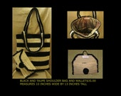 Black and Taupe shoulder Bag with wallet