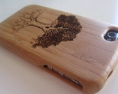 Bamboo iphone 4 4s case with custom engraved tree design Verizon and At&t