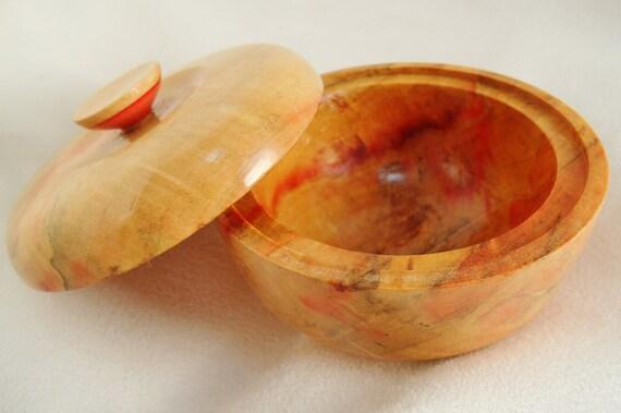 Shave Soap Bowl Flame Box Elder Wood