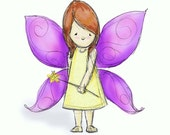 Children's Room Art - Fairy Girl with Brown Hair -  8x10 Illustration