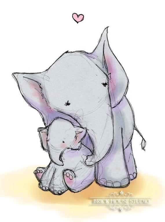 Nursery Wall Art - Elephant Love, 8x10 Illustration