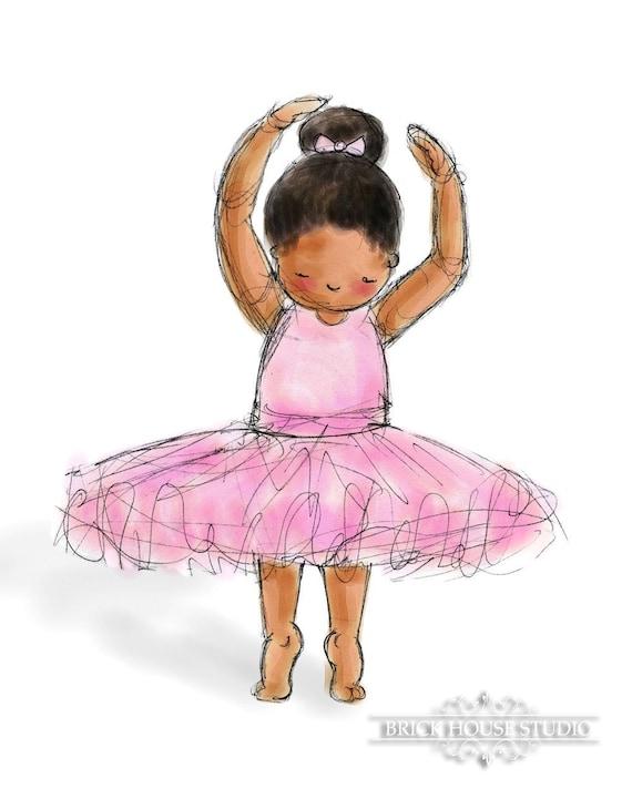 小孩儿's艺术-非洲裔美国芭蕾舞女演员,5x7打印