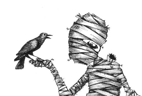 Halloween Decor, The Mummy and The Raven - 5x7 Print