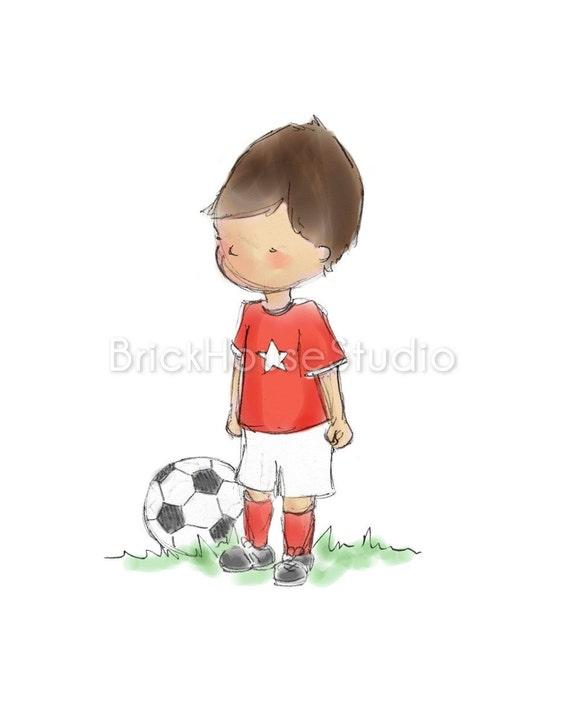 Boy Wall Art, Soccer Nursery - 8x10 Print