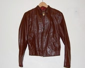 Vintage Classic Brown Cropped Leather Jacket sz XS / S