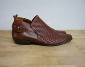 Vintage Brown Woven Leather Ankle Booties 8 // 8.5