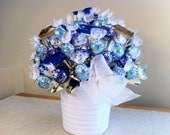 Large Bouquet with Ribbon in White Vase - Chocolate Candy Bouquet