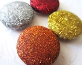 Hot Sunrise Glitter Magnets - Red Orange Gold Silver Home Decor Office Supplies - set of 4