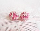Pastel Lace Studs - Pink Art Deco Style Button Earrings for Women - Small