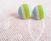 Blue and Lime Striped Stud Earrings - Green Studs - Blue Earrings - Fabric Button Earrings