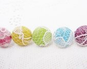 Lace Button Studs - Assorted Colors - Pastel Vintage Lace for Women Teens - 5 pairs