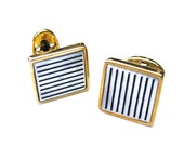 Vintage Mother of Pearl Cufflinks Black Stripes Gift for Him - Boutons de Manchette. Vintage Jewelry by My Chouchou on Etsy.