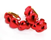 Vintage Hoop Earrings Red Heart LOVE - Boucles d'Oreilles Fleur Rouge. Vintage jewelry My Chouchou on Etsy.