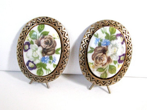 Vintage Rose Hair Clips Set of Two, Bridal Wedding - Èpingle à Cheveux. Vintage Jewelry by My Chouchou on Etsy.