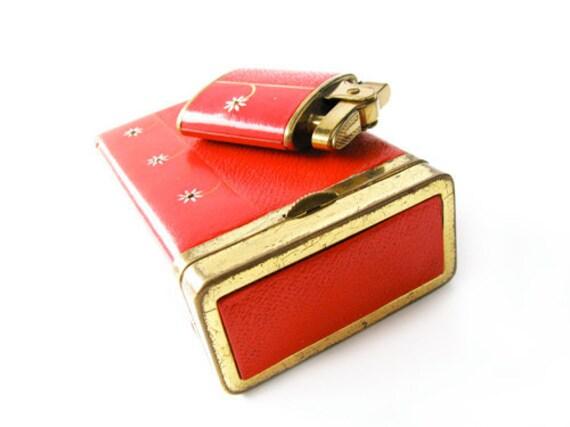 Vintage Red Cigarette Case and Lighter Set, Lady Buxton - Le Cas de Cigarettes. Vintage by My Chouchou.