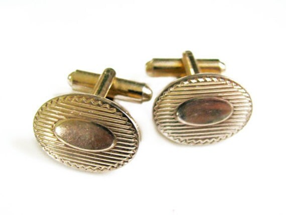Vintage Cufflinks Gold, Ready to Engrave - Boutons de Manchett. Vintage Jewelry by My Chouchou on Etsy.