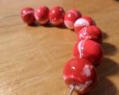 7mm Red and White Round beads, handmade beads, supply beads, jewelry supplies, beading supplies