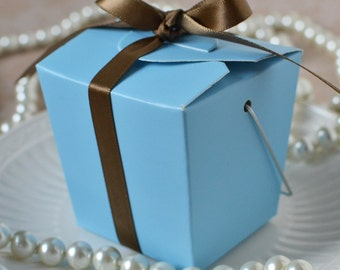 Take Out Box- Set of 12 Baby Blue Take Out Favor Boxes