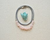 Rock the Rock Necklace- Rose Quartz and Faceted Grey