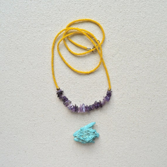 Rock the Rock Necklace- Amethyst, Dirty Yellow, Brass