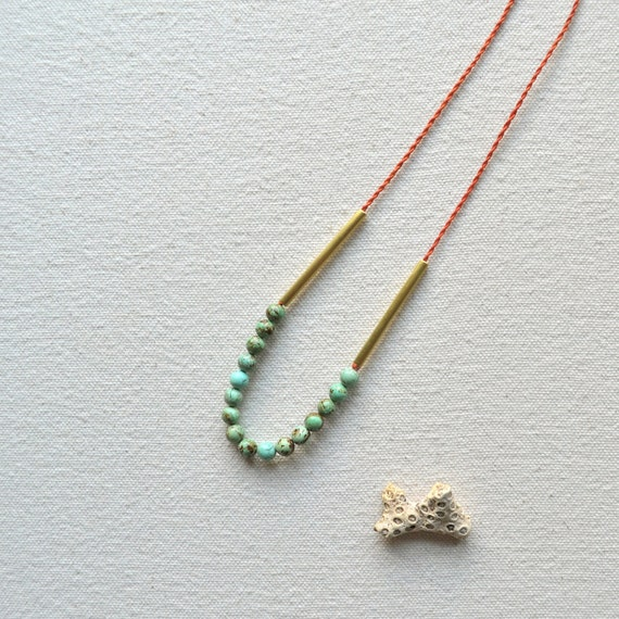 The Amalfi Necklace- Turquoise, Rust, and Hand Cut Raw Brass