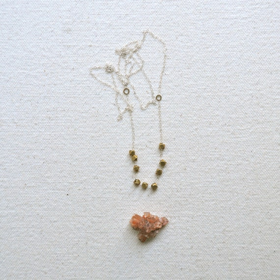 One Fine Day Necklace- Raw Brass Faceted Cubes on Sterling Chain