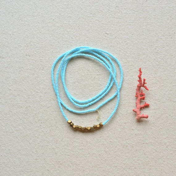 The Tumble Series in Pale Turquoise- Minimal Seed Bead Necklace with Faceted Brass Nuggets
