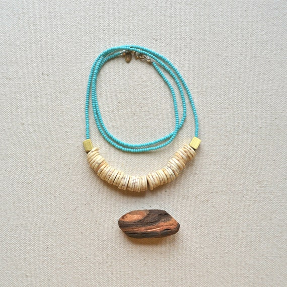 The Archaic Necklace in Turquoise Green- Antique Ostrich Shell and Hand Cut Raw Brass