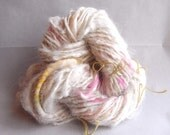 White and fluo pink mohair & alpaca handspun imokuri yarn with yellow and white silk detail HYIM07